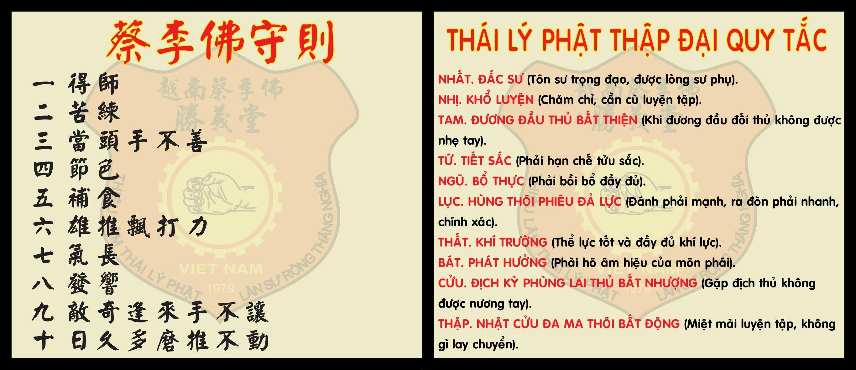 Thái Lý Phật Thập Đại Thủ Tắc